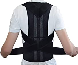 ZILANT Comfort Posture Corrector and Back Support Brace, Back Pain Relief for Men and Women NY-48 Back Support (M, Black)