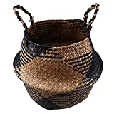 SZETOSY Korb aus natürlichem Seegras, von Goodchanceuk, handgefertigter Seegraskorb mit Griff, nutzbar als Bauchkorb, Pflanzgefäß, für Spielzeuge oder als Wäschekorb