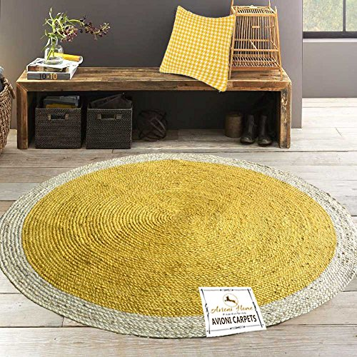 Avioni Jute Braided Area Rug 5 feet round, Handmade by Skilled Artisans, 100% Natural ecofriendly dyed Jute yarns, Thick ribbed construction, Reversible for double the wear, Rug pad recommended