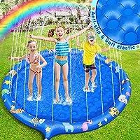 Dookey Splash Pad, Aspersor de Juego, Juguetes Almohadilla Inflables de Agua para niños, Verano Juguete Acuático al Aire Libre para Niños Familiares Jardín/Fiesta /Playa ( Azul )