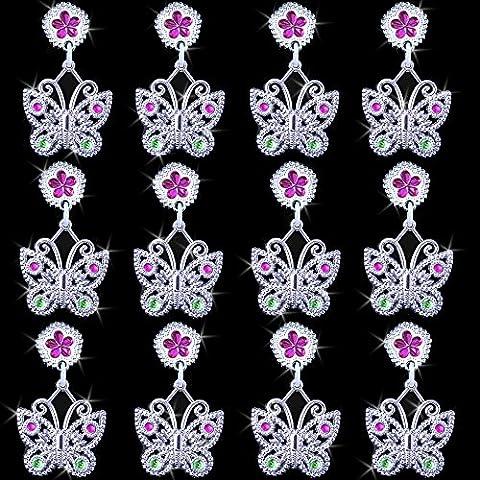 German Trendseller® - 24 x papillon boucles d'oreille à clip┃12 pairs┃avec des papillons┃bijoux de filles┃ l'anniversaire d'enfants┃ petit cadeau┃