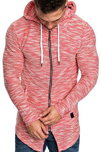 Amaci&Sons Herren Oversize Hochkragen Kapuzenpullover Jacke Sweatshirt Hoodie Sweatjacke Pullover 4015 Rot M - 4