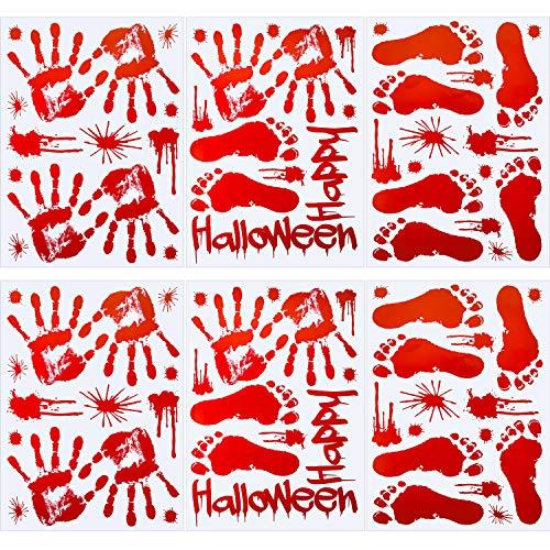 Tatuo 82 Stücke Blutige Handabdrücke Fußabdrücke Fenster Boden Wandklammern Aufkleber Sticker Lieferungen für Halloween Vampire Zombie Party