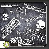 Kiwistar Sticker Bomb Set 09 - Bogengröße A4: Klar bist Du schneller, Domo, Panda, Blitzer, Boost Load