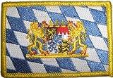 Bayern mit Löwenwappen Aufbügler Aufnäher Patch ca. 8 x 5,5cm - FRIP –Versand®