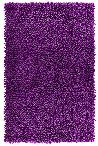 Lashuma Badvorleger Lila - Brombeer Chenille | Edle Badematte Schnelltrocknend | 50 x 80 cm