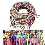 60metros 3mm Cuerda de Cuero Cordón Pulsera Plana 60 Colores Hilo Cuero Collar Colgante Manualidades Fabricación de Bisutería y Abalorios Artesanía