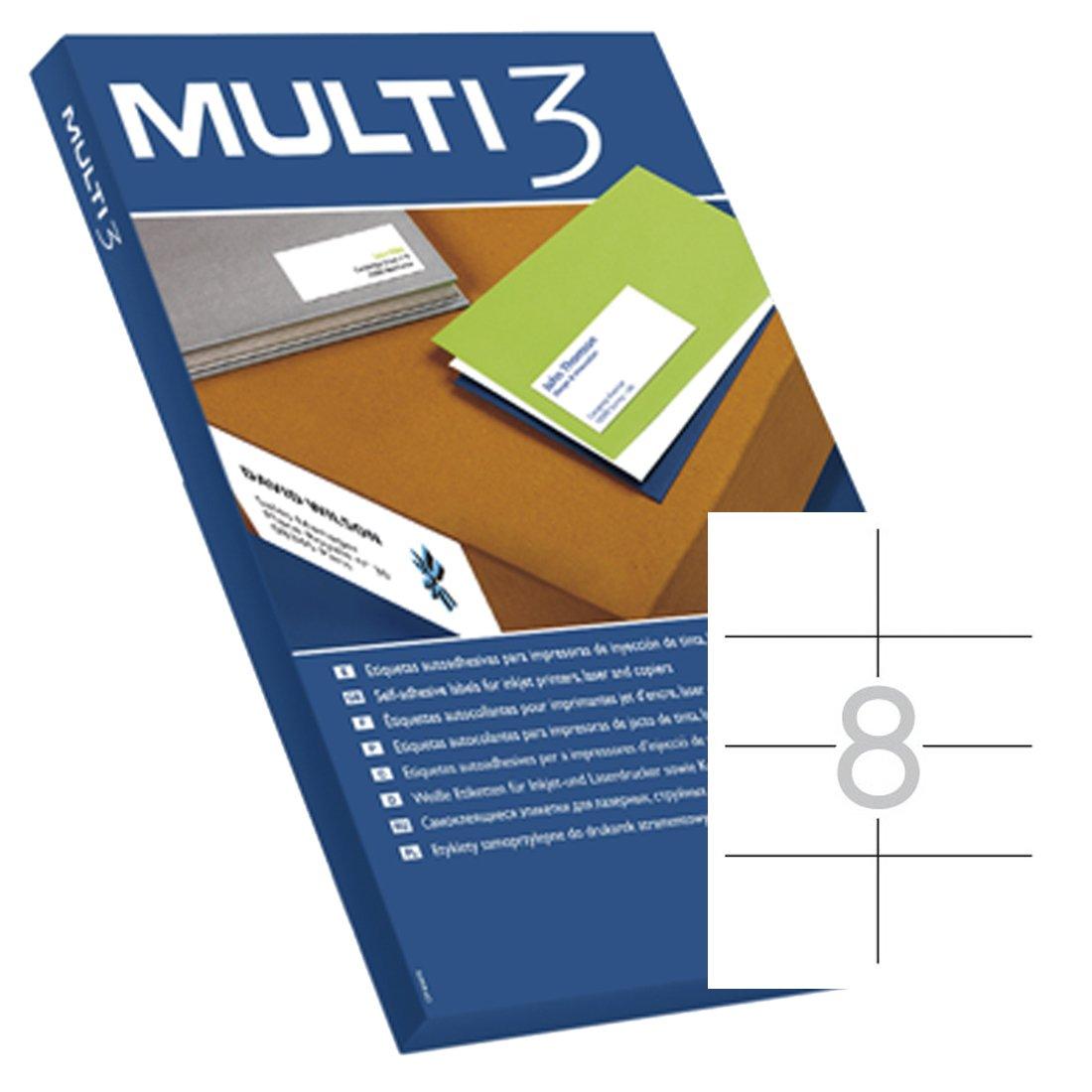 APLI–Etichette adesive MULTI3per Inkjet/Laser/fotocopiatrici Cantos dritti 100fogli 105x