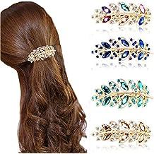 Possec Clips de pelo Pinzas de cabello Barrettes Horquillas Aleación  Cristal Diamante de imitación Hoja de 92af0f432961