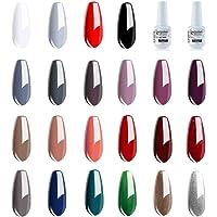 Vishine Lot de 24 Vernis à Ongles Semi permanent Vernis Gels UV LED Soak Off Rouge Blanc Black Classsique Collection Kit…