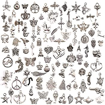 JaneDream Wholesale 100 Pieces Tibetan Silver Plated Mixed Charms Pendants DIY for Jewelry Making and Crafting