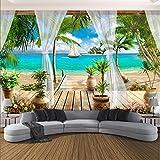 Weaeo Benutzerdefinierte Wandbild Tapete Moderne 3D Balkon Meerblick Hintergrund Wand Papier Wohnzimmer Schlafzimmer Home Decor WandverkleidungWandbild-200X140Cm