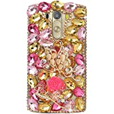 Spritech (TM) – Carcasa 3d bricolaje Bling Strass diamante case casos transparente Back Cover Cristal Funda Cráneo Funda Hard Carcasa para LG Optimus G3 D850 VS985 D851, A16, LG G3 Mini