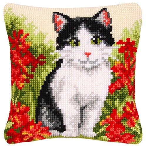 Vervaco Cat in Den Blumen Kissen Cover Tapisserie Kit -