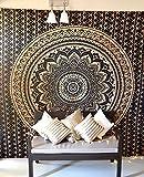 Folkulture Tapisserie mandala/Tenture murale hippie bohème ombrée - Parure de lit pour chambre à coucher, dortoir de lycée, décoration murale ou couverture pour la maison, couvre-lit pour lit queen-size - Noir/doré