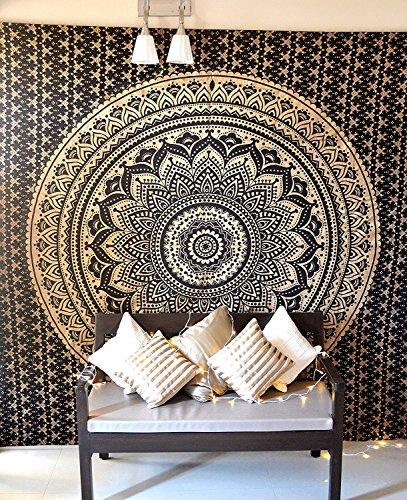 Folkulture - Tapiz con diseño de mandala estilo bohemio para pared, cubrecamas, manta de dormitorio o sofá, póster decorativo, tamaño Queen, color negro dorado