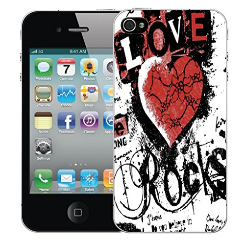Nouveau iPhone 4 clip on Dur Coque couverture case cover Pare-chocs - mexican owls Motif avec Stylet love rocks red