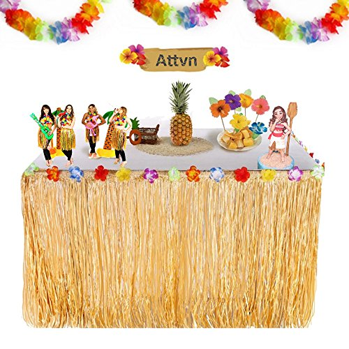 (Attvn 9.6ft Hawaii Luau Tischrock Party Deko, Hawaiian Tropical Hibiscus Grass Table Skirt mit 26 Faux Seidenblumen für Hawaii Tiki Bar, Party Sommer, Picknick Geburtstag, Garden Beach Party Dekoration)