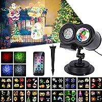 Luces del Proyector de la Navidad, ALED LIGHT Impermeable Exterior Decoración Luz de Proyector con Control Remoto y 16 Diapositivas de Patrón para Fiesta, Navidad, Festivos