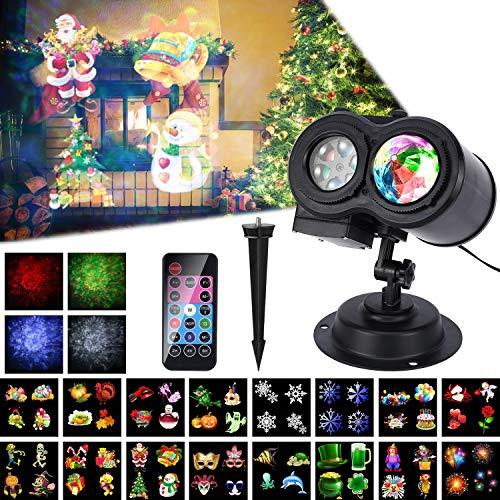 LED Projektor Weihnachten Lampe, 16 Folien, ALED LIGHT Wasserwelle&Gobos Licht Projektion, Wasserdichte Außenbeleuchtung Weihnachten Licht Projektor mit Fernbedienung, Dekoration Party Urlaub Haus