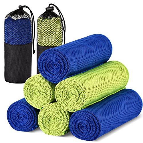 Tomppow Kühltuch kältetuch Kühlendes Handtuch,Sofort Kaltes Kühlung Cooling Towel,Schnell Trocknend Kaltes Eishandtuch,120cmX30cm für Fitness Yoga Golf Camping Wandern