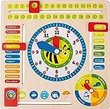 Lerntafel Datum, Uhr- & Jahreszeiten EN aus Holz, farbenfrohe Lerntafel enthält...