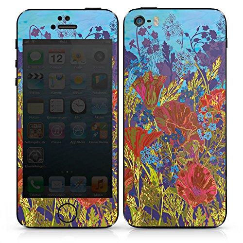 Apple iPhone SE Case Skin Sticker aus Vinyl-Folie Aufkleber Rote Blumen Muster DesignSkins® glänzend