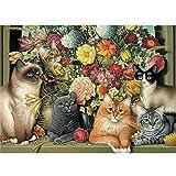 DIY 5d Diamant painting Voll,Katzen und Blumen Muster Handgemachtes Klebebild mit Digitale Sets Kreuzstich Wanddekoration