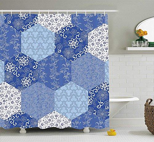 BUZRL Japanese Shower Curtain, Antique Asian Patchwork Artwork Ethnic Floral Pattern Geometric Hexagonal Handmade, Fabric Bathroom Decor Set with Hooks, 66x72 inches, Blue White (Walk Halloween Cake)