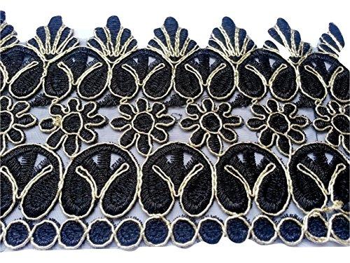 Glitzer Bordüre Sari Borte Blumen Spitze Stoff Stickerei breit für Kleider farbig zum nähen Farbvarianten (10 CM BREITE SCHWARZ)