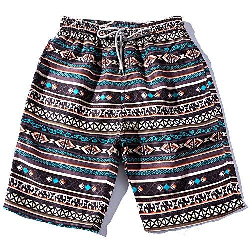 Amphia - Herren Shorts - Ethnic/Beach Pants - Loose/Straight/Thin - Bademode,Sommer Männer Paare Strand Floral Bohe Badeshorts Trunks Nickel Hosen Plus Größe (Trunk Floral)