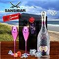 Sansibar Rosé Spumante Geschenk-Set|inkl. 2 rose-eloxierten Champagner-Kelchen| Luxus für Frau & Freundin |Sylt Special rosa pink | es muss nicht immer Moet Ice oder Dom Perignon sein |Geschenkkarte