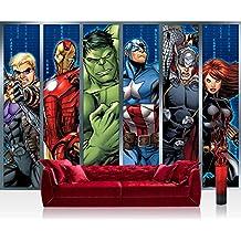 Papel Pintado Fotográfico Premium Plus pared–Fotomural Pared De Papel pintado–ilustraciones pintado Marvel Avengers–Assemble–Papel pintado infantil dibujos animados Comic el Viajero Azul–No. 1138, mehrfahrbig, blau, Fototapete 300x210cm   PREMIUM PLUS
