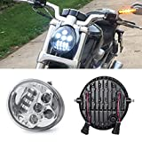 Suparee LED Scheinwerfer 17CM 60W 12V für Harley Davidson VRSCA V-Rod VRod 02-16(Silber)