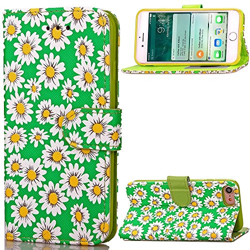 iPhone Case Cover IPhone 7 Fall-Abdeckung Blumen Druckmuster Magnetic Seite Schnalle Entwurfs-Folio-Standplatz-Fall mit Wallet-Funktion PU Leether TPU Soft Cover für Apple iPhone 7 4.7 Zoll ( Color :  Green