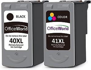 OfficeWorld PG-40XL CL-41XL Rigenerata Canon PG-40 CL-41 Cartucce d'inchiostro (1 Nero,1 colore) Alta capacità Compatibile con Canon PIXMA iP1200 iP1300 iP1600 iP2200 iP2500 MP140 MP150 MP160 MP170 MP180 MP210 MP220 MP450 MP460 MP470 MX300 MX310
