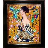 overstockArt Signora Con Ventaglio Interpretation mit opulenten Rahmen von Gustav Klimt gerahmt handbemalt Öl auf Leinwand, Holz, mehrfarbig