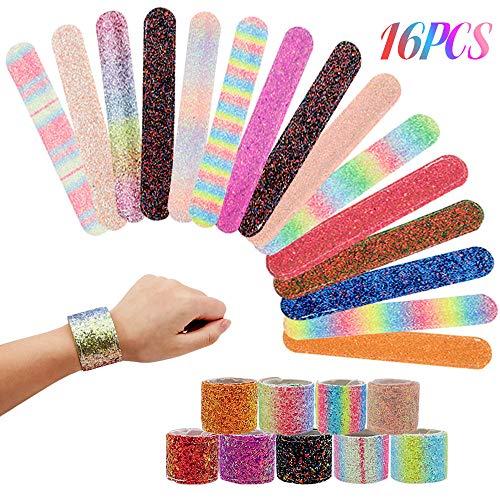 BAKHK 16 Stück Vanlentinstag Glitzer Meerjungfrau Schnapparmbänder Slap Armbänder für Kinder Erwachsene Geschenk Geburtstagsparty Spielzeug Dekor