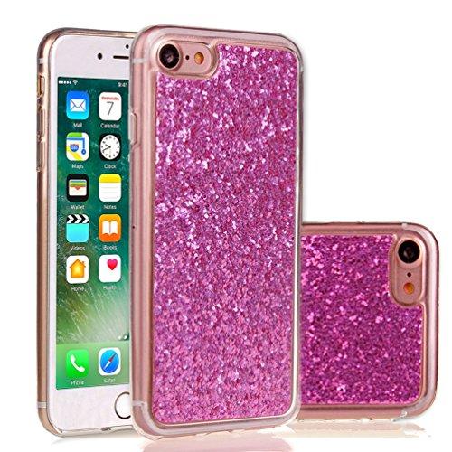 Apple iPhone 7 4.7 Hülle, Voguecase Schutzhülle / Case / Cover / Hülle / TPU Gel Skin (Feder-Anhänger) + Gratis Universal Eingabestift Sequins Glitter/Rosa