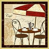 Bild mit Rahmen Veronique Charron - Petit Cafe I with Border - Digitaldruck - Holz gold, 90 x 90cm - Premiumqualität - Küche / Gastronomie, Sonnenschirm, Tisch, Stühle, Bistro, Gastronomie - MADE IN GERMANY - ART-GALERIE-SHOPde
