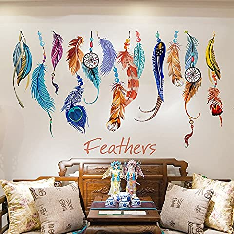 Japace® Colorful Creative Dream Catcher Feathers Wall Stickers Art Decal Murals Removable Wallpapers for Home Decoration