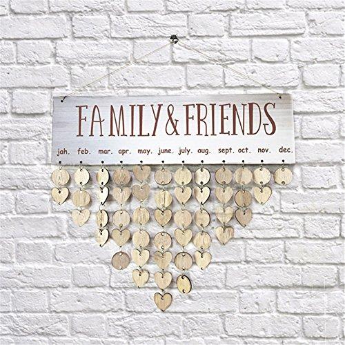 Takefuns Hölzerne Kalender hängen Geburtstagskalender Erinnerung Familie Plaque für Wohnkultur (Schablonen Für Wand-plaques)