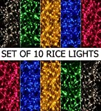 Pack of 10 Rice Lights 4-5 MTRS. EACH Serial Bulbs (Ladi) Decoration Lighting for Diwali Christmas