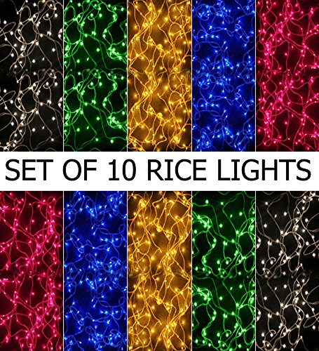 Bansons Rice Lights Serial Bulbs (Ladi) Decoration Lighting for Diwali Christmas,(4-5 Mtrs)(Pack of 10)
