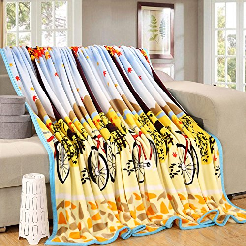 ShineMoon Soft Fluffy Fleece Blanket Throw Covers for Sofa Bed Chairs Autumn Trees Pattern Warm Winter Outdoor Travel Camping Picnic Blankets, 100% Polyester, 120x200cm