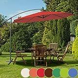 Sonnenschirm Ø 350cm in Farbwahl   mit Handkurbel zum Aufspannen,Wasserabweisender Schirmbezug, inkl. Ständer   Ampelschirm, Gartenschirm, Kurbelschirm, Marktschirm, Sonnenschutz für Balkon, Garten, Tarasse