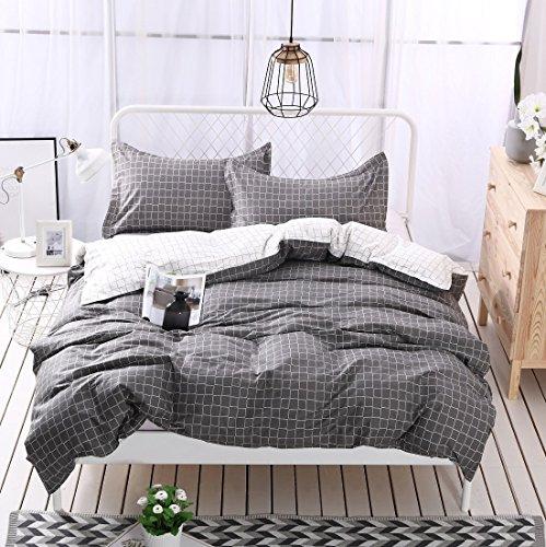 Young17 Bettwäsche-Sets 100% Baumwolle dreiteilig (1 Bettbezug & 2 Kissenbezüge), gesteppt Bettbezug Schlafzimmer-Sets Braun Gitter, König