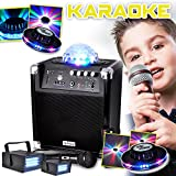 KARAOKE Enfants Batterie MyDj SOUNDMAGIC 100W LEDs RVB - USB/SD/BT LEDSTROBES + 2 ROUND