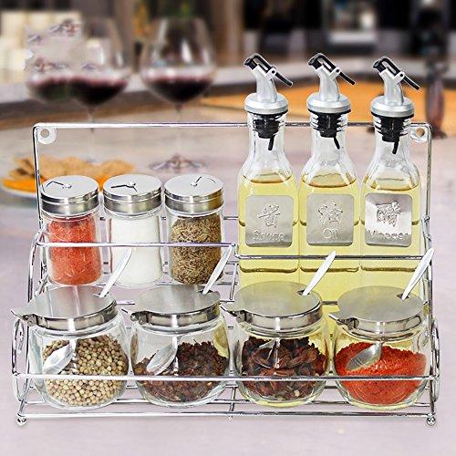 Küche öl Liquid Condiment Oil Dispenser Und Sirup Container Mit Automatischen Stopper, Precise-Gießen Auslauf (einschließlich Edelstahl-Regale) (Condiment Dispenser Mit Kappe)