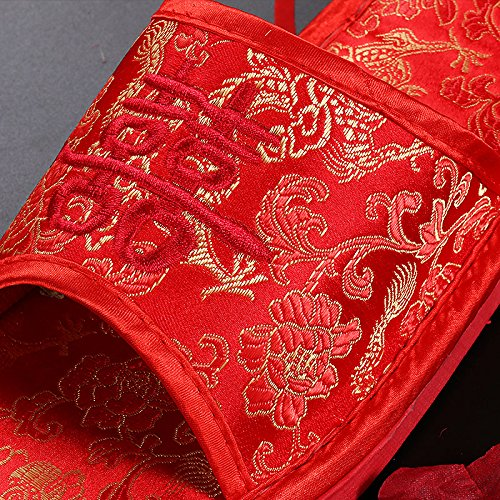 TT&HUNLI Ciabatte da sposa / ciabattine rosse da sposa / ciabattine interne da casa coppia in cotone female